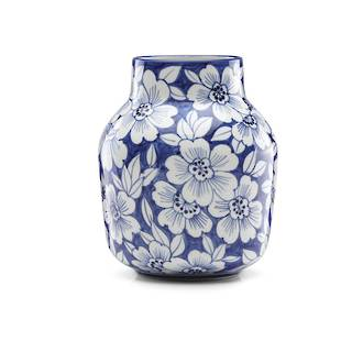 Painted Indigo Floral Tapered Vase 17.5cm
