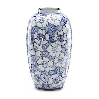 Painted Indigo Floral Tall Vase 24cm