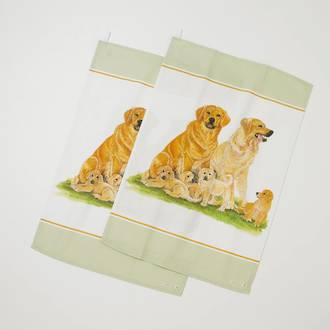 Dogs Tea Towel Pair