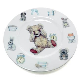 Teddy Time Plate - Blue