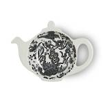 Black Regal Peacock Teapot Tray