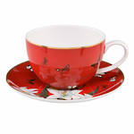 Joanna Charlotte Teacup & Saucer - Lilies Red
