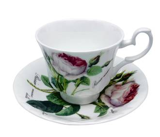 Redoute Rose Teacup & Saucer